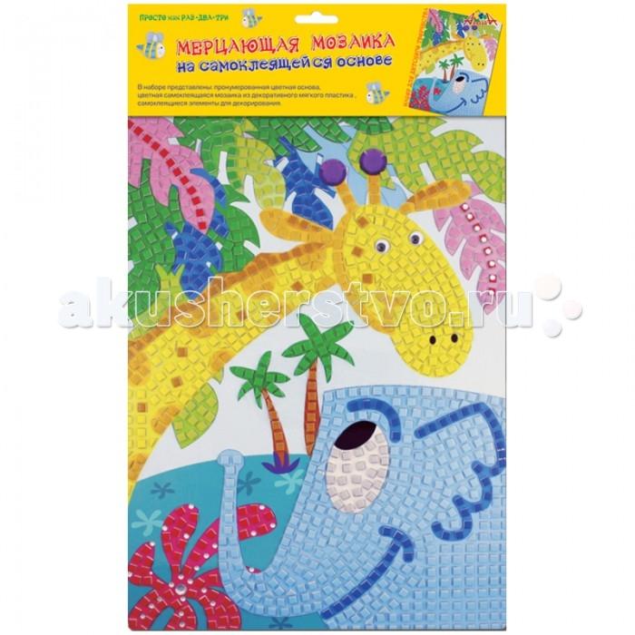 Мозаика Апплика Мозаика мерцающая на самоклеящейся основе Жираф и слон апплика мозаика мерцающая осьминоже