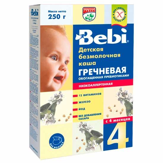 Каши Bebi Безмолочная Гречневая каша низкоаллергенная с пребиотиками с 4 мес. 200 г каша безмолочная bebi premium гречневая с яблоком с 4 мес 200 г