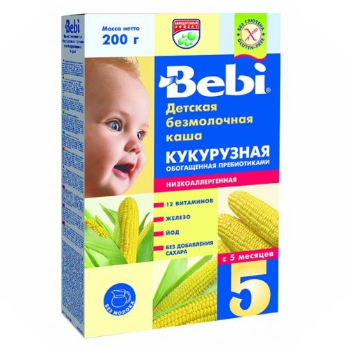 Каши Bebi Безмолочная Кукурузная низкоаллергенная каша с пребиотиками с 5 мес. 200 г