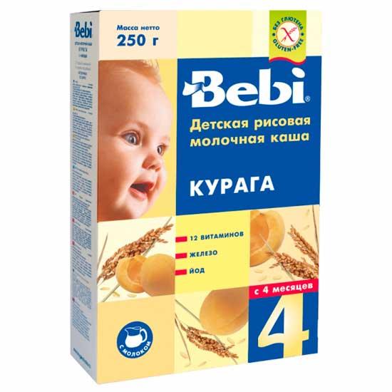 Каши Bebi Молочная Рисовая каша с курагой с 4 мес. 250 г каши bebi молочная овсяная каша premium с 5 мес 250 г