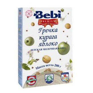 Каши Bebi Молочная Гречневая каша Premium с курагой и яблоком с 5 мес. 200 г каша молочная bebi premium гречневая с курагой и яблоком с 5 мес 200 г