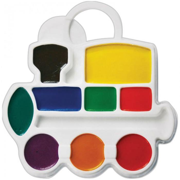Краски Луч Акварель Паровозик 9 цветов без кисти фигурная краски луч акварель классика 16 цветов без кисти