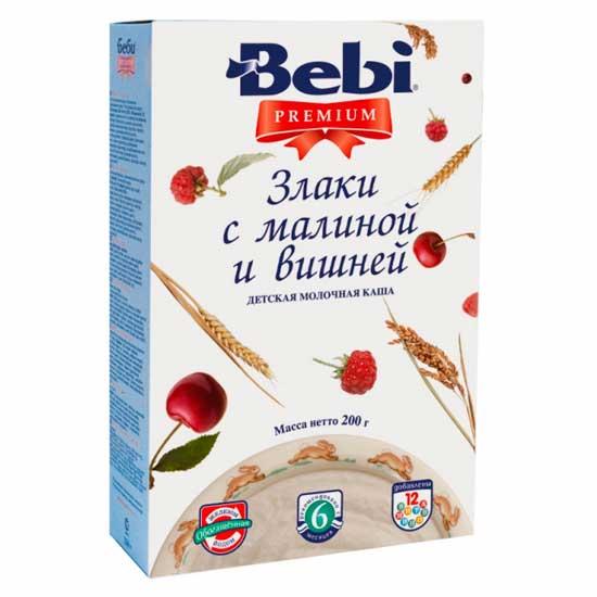 Каши Bebi Молочная каша Premium злаки с малиной и вишней с 6 мес. 200 г каша молочная bebi premium 7 злаков с черникой 6 мес 200 г