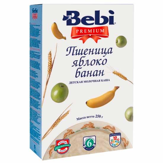 Каши Bebi Молочная Пшенично каша Premium с яблоком и бананом с 6 мес. 250 г каша молочная bebi premium учимся жевать 4 злака с вишней и бананом с 12 мес 200 г
