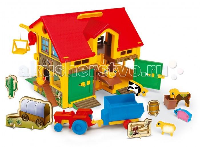 Wader Домик - фермаДомик - фермаWader Домик-ферма яркая и увлекательная развивающая игрушка. Играя с ней, ребенок будет знакомиться с жизнью на ферме, изучать животных, учиться обустраивать дом. Таким образом, этот детский игровой домик будет стимулировать его воображение, развивать пространственное мышление,логику и интеллект, а также заботливость и любовь к животным.  Играть набором могут одновременно несколько детей, учась при этом сотрудничать, делиться игрушками.  Двухэтажный домик-ферма оснащен такими подвижными элементами, как лифт, подъемник, двери, а также включает трактор с прицепом и фигурки животных (лошадка, корова, овца, свинья, петух и две курицы).  Детский игровой домик легко переносится в другое место благодаря ручке, расположенной на крыше. Весь набор изготовлен из высокопрочного пластика.<br>