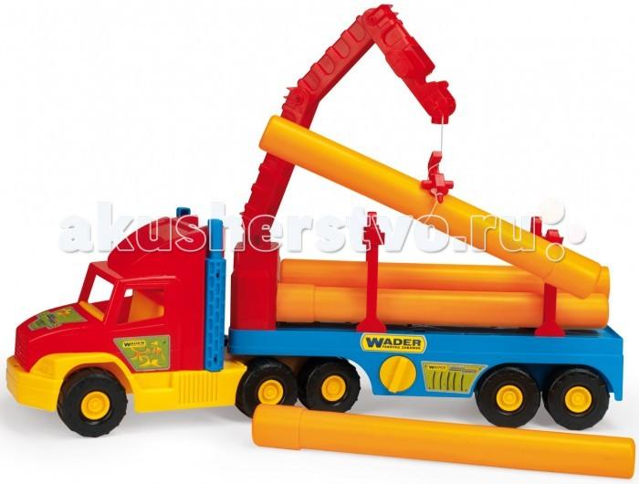 Wader Super Truck строительныйSuper Truck строительныйWader Super Truck строительный. Игрушечная машинка Super Truck строительный - это большой 80 - сантиметровый автомобиль из хорошо известной серии грузовиков Super Truck.   В комплект входят пять труб и кран, который может загружать их на подвижной прицеп. Система взаимосвязанных труб дает возможность создания канализационной системы, а вместе с гигантским экскаватором создает идеальный набор для маленького строителя.  Набор стимулирует воображение и развивает у детей навыки моторики. Дополнительно на упаковке находятся элементы для вырезания.  Игрушечная машинка изготовлена из высококачественного пластика, устойчивого к погодным условиям, поэтому ее круглый год можно хранить, например, в саду или на балконе.<br>