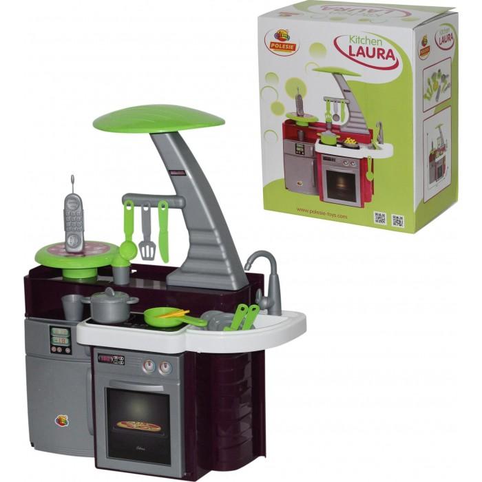 Coloma Набор Кухня LauraНабор Кухня LauraНабор кухня Laura 56313 Полесье – это прекрасный выбор маленькой хозяюшке!  Кухня представляет собой большую рабочую поверхность для готовки с имитацией вытяжки, духового шкафа, холодильника.  Этот тематический игровой комплекс знакомит ребенка с трудовыми процессами, прививает его к труду, развивает воображение и фантазию, способствует художественному развитию.   Набор представляет собой кухонный гарнитур с встроенной бытовой техникой и классическими секциями для тематической игры. На поверхности стола находится варочная панель с двумя конфорками, мойка для посуды с краном, небольшая круглая подставка для телефона. Сбоку оборудована вытяжка изящной формы с мини-полочкой-подвесом для кухонных приборов. В нижней части есть духовой шкаф с ручкой и регуляторами температуры и холодильник. Игровой комплекс дополнен классическими аксессуарами для кухни — кастрюлей с крышкой, сковородкой, столовыми приборами, стаканчиком и удобным телефоном.  Кухня упакована в картонную коробку.  Материал: высококачественная пластмасса. Окраска исключительно сертифицированными пищевыми красителями.  В наборе: -плита; -вытяжка; -раковина; -духовой шкаф; -холодильник; -телефон; -набор кухонной утвари.<br>