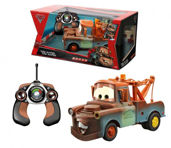 Dickie Машина Mater со светом и звукомМашина Mater со светом и звукомРадиоуправляемая машина Mater из кинофильма Дисней Тачки 2 наделена звуковыми и световыми функциями. К тому же он умеет стрелять ракетами! С каждой стороны машины есть два отсека, которые при нажатии кнопки на пульте управления имитируют стрельбу звуковыми и световыми эффектами. В это же время открывается отсек для ракет спереди машины и выпускает две ракеты.  Характеристики: - масштаб 1:16 - световые, звуковые эффекты - элементы питания в комплект не входят - две частоты управления- 27 и 40 Mhz - длина 29 см<br>