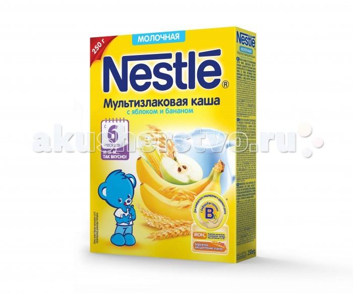 Каши Nestle Молочная Мультизлаковая каша яблоко, банан с 6 мес. 250 г hipp каша 5 злаков с черносливом с преобиотиками молочная с 6 мес 250 гр