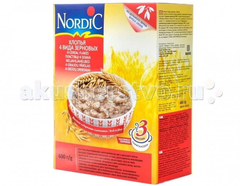 Каши Nordic Безмолочная каша 4 злака хлопья 600 г русский завтрак хлопья 4 злака крупные 400 г