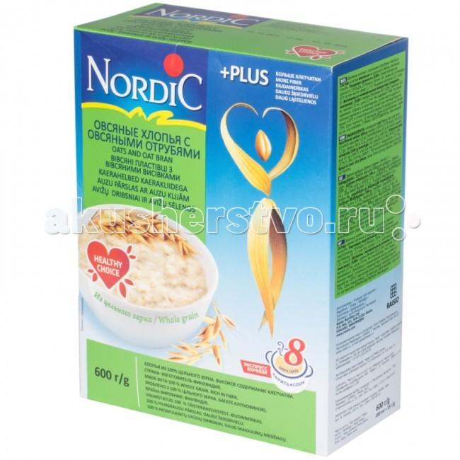 Каши Nordic Безмолочная каша Овсяные хлопья с овсяными отрубями 600 г стандарт хлопья овсяные геркулес 450 г