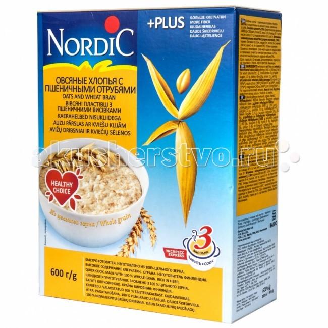 Каши Nordic Безмолочная каша Овсяные хлопья с пшеничными отрубями 600 г helsinki mills хлопья органические helsinki mills овсяные с пшеничными отрубями 400 г