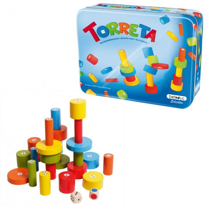 Beleduc Развивающая игра Башенки 22450Развивающая игра Башенки 22450Развивающая игра Башенки 22450 Beleduc  Легендарная игра из коллекции Избранное отличается сочными цветами и новой упаковкой. В процессе игры ребенок изучает цвета, формы, получает представление о размерах и пропорциях, развивает моторику.   Для игры используются кубик с цветными символами и кубик с точками. В зависимости от выпадающих цветов и чисел, игроки выбирают брусочки и строят из них башенки. Победителем станет тот, кто построит самую высокую башню.  Включает 27 деталей: 25 деревянных брусков, 1 кубик с цветами, 1 кубик с точками. Материал - береза.   Все детали выполнены из высококачественных материалов, совершенно безопасных для маленьких детей.  Игры Beleduc идеально подходят для начального развития детей, задолго до того, как они идут в школу, но и просто для интересного времяпрепровождения. Игры Beleduc идеально подходят для совместной игры родителей и детей. Некоторые игры очень понравятся взрослым, которые с удовольствием втянутся в процесс игры.<br>