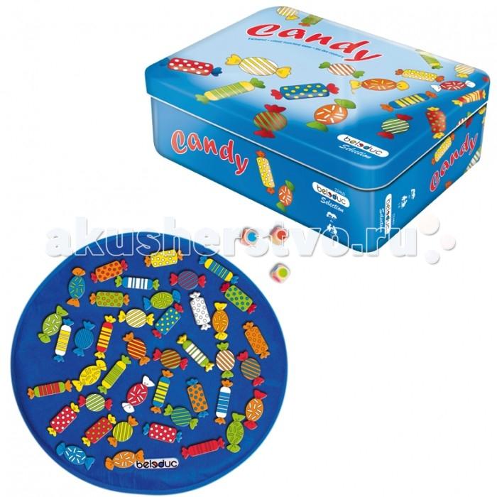 Beleduc Развивающая игра Конфеты 22460Развивающая игра Конфеты 22460Развивающая игра Конфеты 22460 Beleduc  Легендарная игра из коллекции Избранное отличается сочными цветами и новой упаковкой. В процессе игры ребенок изучает цвета, развивает наблюдательность.   Для игры используются 3 кубика с цветными символами. В зависимости от выпавшей цветовой комбинации игроки выбирают конфеты с соответствующей расцветкой. Существует 3 варианта ведения игры.  Включает 45 деталей: 41 фигура в форме конфеты (70х25 мм), 1 игровое поле (450 мм) из текстиля, 3 кубика. Материал - береза.   Все детали выполнены из высококачественных материалов, совершенно безопасных для маленьких детей.  Игры Beleduc идеально подходят для начального развития детей, задолго до того, как они идут в школу, но и просто для интересного времяпрепровождения. Игры Beleduc идеально подходят для совместной игры родителей и детей. Некоторые игры очень понравятся взрослым, которые с удовольствием втянутся в процесс игры.<br>