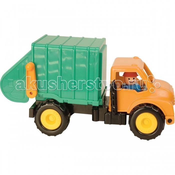 Battat Грузовик-мусоровозГрузовик-мусоровозBattat Грузовик-мусоровоз отличный выбор для юных водителей с полуторогодовалого возраста. Она понравится детям своей великолепной красочностью и отличной функциональностью, а взрослым игрушка придется по вкусу своей безопасностью для детского здоровья и экологичностью. Ведь для каждого родителя очень важно состояние здоровья их малышей.   С первого взгляда Вам может показаться, что игрушка достаточно простая, но это не так. Грузовик обладает люком для сборки мусора, который удобно открывается под управление рычага, а также мусорными баками, в которые тоже можно собирать и погружать мусор. Кабина грузовика может наклоняться, что позволит водителю, входящему в комплект игрушки, без труда выходить из машинки.   С такой игрушкой у ребенка будет масса идей для его сюжетно-ролевых игр. Играя с машинкой, у ребенка разовьется мелкая моторика, фантазия, воображение, ловкость, внимание, логическое и пространственное мышление.<br>