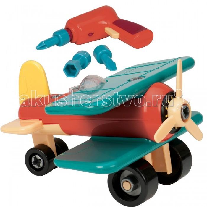 Конструктор Battat Разборный самолет (21 элемент)Разборный самолет (21 элемент)Конструктор Battat Разборный самолет (21 элемент) не позволит скучать Вашему малышу ни минуты. Это конструктор, который позволяет собрать самостоятельно самолет из 21 детали.   К игрушке прилагается шуруповерт с тремя насадками различных размеров, при помощи которого формируется и разбирается самолет. Такое занятие будет тренировать у ребенка усидчивость, внимание, сообразительность и мелкую моторику. Кроме этого, с конструированным замечательным самолетом можно играть в увлекательные игры, принимая участие в самых невообразимых гонках.   Игры с самолетом разнообразят сюжетно-ролевые игры и познакомят вашего малыша с основами техники и с механизмами. Для работы шуруповерта необходимо дополнительно приобрести две батарейки АА.<br>