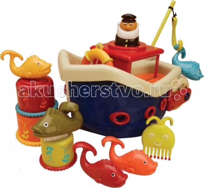 Battat Кораблик с игрушками для ванныКораблик с игрушками для ванныBattat Кораблик с игрушками для ванны отправит в настоящее плавание Вашего малыша и превратит принятие ванны Вашим малышом в настоящее приключение.   В наборе можно найти корабль с капитанским мостиком и палубой, капитана, четыре разноцветные рыбки, забавного осьминога, который также является гребешком, три стаканчика разных размеров и с рельефными окантовками, рыболовный крючок, спасательный круг на веревочке из текстиля и рыбку, которая имеет щеточку для ногтей. Все игрушки удобно складываются под палубу корабля.   Играя с набором для ванны, ребенок разовьет мелкую моторику, сообразительность, фантазию, логику, пространственное мышление, сообразительность, ловкость и научится понимать причинно-следственные связи.<br>
