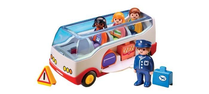 Конструктор Playmobil 1.2.3.: Шаттл бас в аэропорт1.2.3.: Шаттл бас в аэропортPlaymobil 1.2.3.: Шаттл бас в аэропорт.  Игровой набор Шаттл бас в аэропорт - конструктор для маленьких любителей приключений! Дети любят всё новое, и особенно, дети любят узнавать новое в путешествиях. Вручите своему ребенку путешествия круглый год с мини автобусом для туристов.   Этот чудесный шаттл выглядит как настоящий: оконная рама из прозрачного пластика, удобные сидения, отделения для сумок и, конечно, водитель. Как только ваш малыш загрустит о летних поездках загород или на море, предложите ему поиграть с шаттлом. Потому что нет разницы между настоящим и воображаемым путешествием – главное, чтобы оно продолжалось!  Серия 1.2.3 Playmobil - потрясающие конструкторы из Германии для детей от 1,5 до 3 лет! С первой маленькой фигурки и до последней большой детали ребенок будет увлечен и восхищен разнообразием, функциональностью, оригинальным дизайном и удобными формами игрушек. Теперь вопрос Что подарить? исчезнет у родителей и близких. Конечно, Playmobil! Продукция сертифицирована, экологически безопасна для ребенка, использованные красители не токсичны и гипоаллергенны.  В набор входят:  1 шаттл  4 фигурки человечков  1 машинка - грузовичок. Дополнительные аксессуары:  2 дорожных сумки 1 чемодан 1 знак аварийной остановки. Описание набора: Шаттл: открытая крыша, два откидывающихся отделения для размещения багажа, 4 подвижных колеса.  Описание фигурок: 1 водитель шаттла 1 фигурка мальчика 2 фигурки девочек. У фигурок подвижные ноги, что помогает легко размещать их на сидениях и вращающаяся голова, дизайн одежды соответствуют тематике набора.<br>