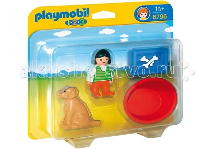 Конструкторы Playmobil 1.2.3.: Девочка с собакой playmobil игровой набор королева лунного света с жеребенком пегаса