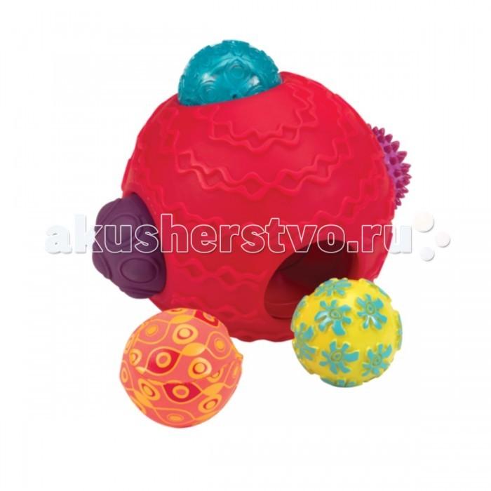 Развивающая игрушка Battat Шумные шарикиШумные шарикиРазвивающая игрушка Battat Шумные шарикиПять маленьких шариков вставляются в один большой шарик. Играйте с ними вместе или по отдельности. У Вас будет шарик (или шесть)!  Шарики прыгают, катаются, пищат. Каждый обладает разными свойствами.  Неровности, гребни, мягкие выступы — множество различных фактур для маленьких ручек. Оставьте три шарика внутри, а два снаружи. Возможно огромное количество комбинаций!<br>