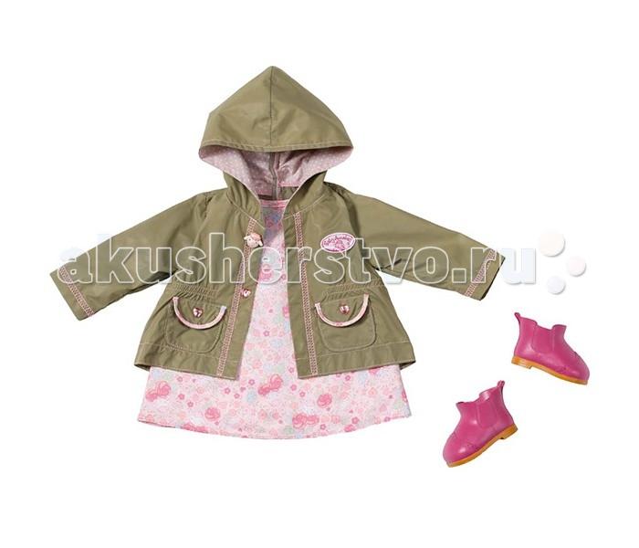 Zapf Creation Baby Annabell Одежда демисезоннаяBaby Annabell Одежда демисезоннаяЗамечательный набор одежды для прогулки на свежем воздухе – прекрасное игровое дополнение для интерактивной куклы Бэби Аннабель.   В комплект набора входит чудесное розовое платьице с нежным цветочным принтом, курточка с капюшоном на случай небольшого дождя и очаровательные резиновые сапожки малинового цвета.   В таком наряде малышке Анабель не страшен ни моросящий дождь, ни ветер, можно смело отправлять на длительную прогулку в парк или на дачу!<br>