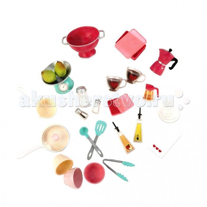 Our Generation Dolls Набор кухонных принадлежностей для приготовления едыНабор кухонных принадлежностей для приготовления едыНабор кухонных принадлежностей для приготовления еды позволит девочкам приготовить праздничный обед или ужин вместе с их любимой куклой.  В набор входит: сковорода, весы, ковш, чашки, солонка и перечница, соусники, подносы, кофейник, груши, сито, блюдца, комплект лопаток.<br>