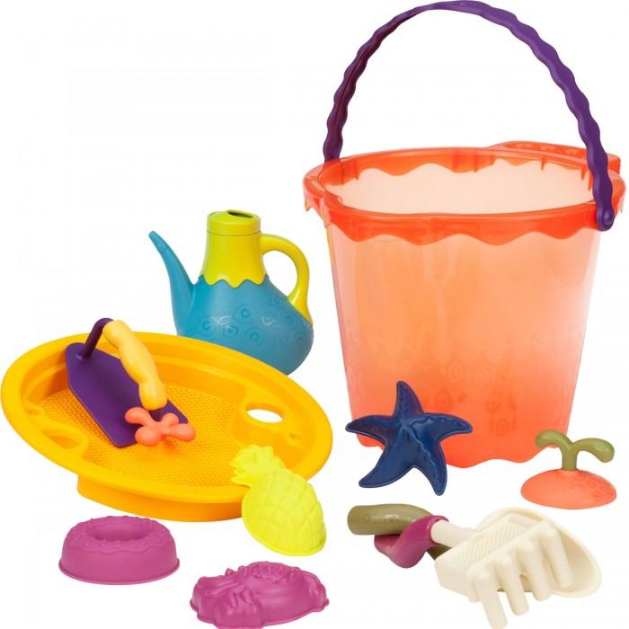 Battat B.Summer Большое ведерко и игровой набор для песка оранжевый 11 деталей