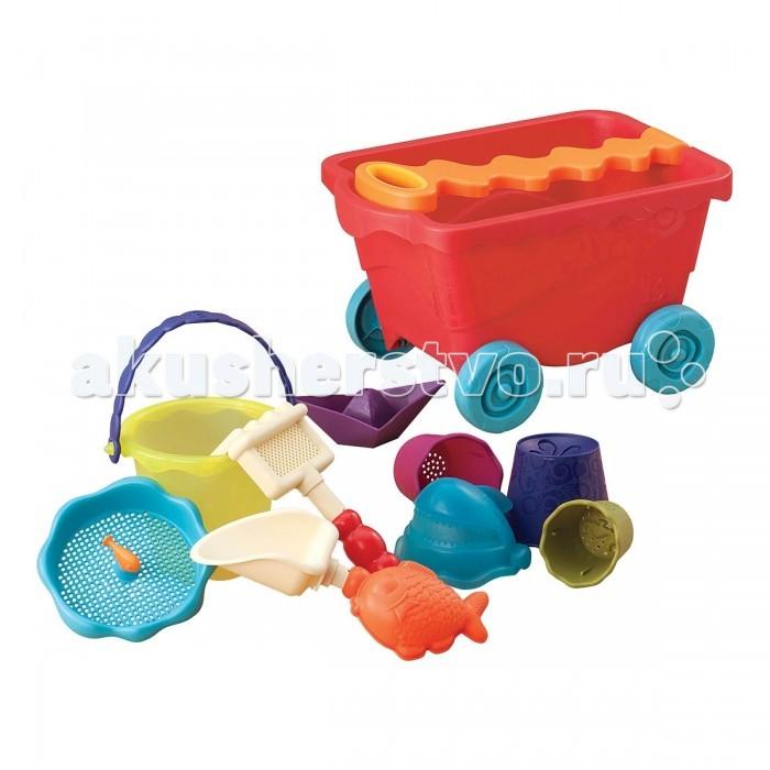 Летние товары , Игрушки в песочницу Battat B.Summer Тележка с игровым набором для песка красный арт: 130994 -  Игрушки в песочницу
