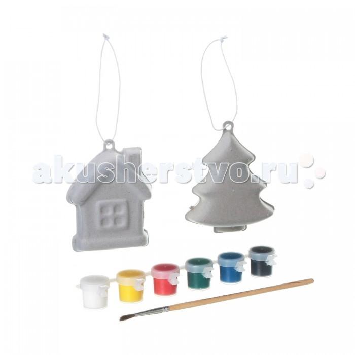 Картинка для Наборы для творчества Bondibon Набор для детcкого творчества 2 игрушки домик и ёлочка (на европодвесе) из шар-папье