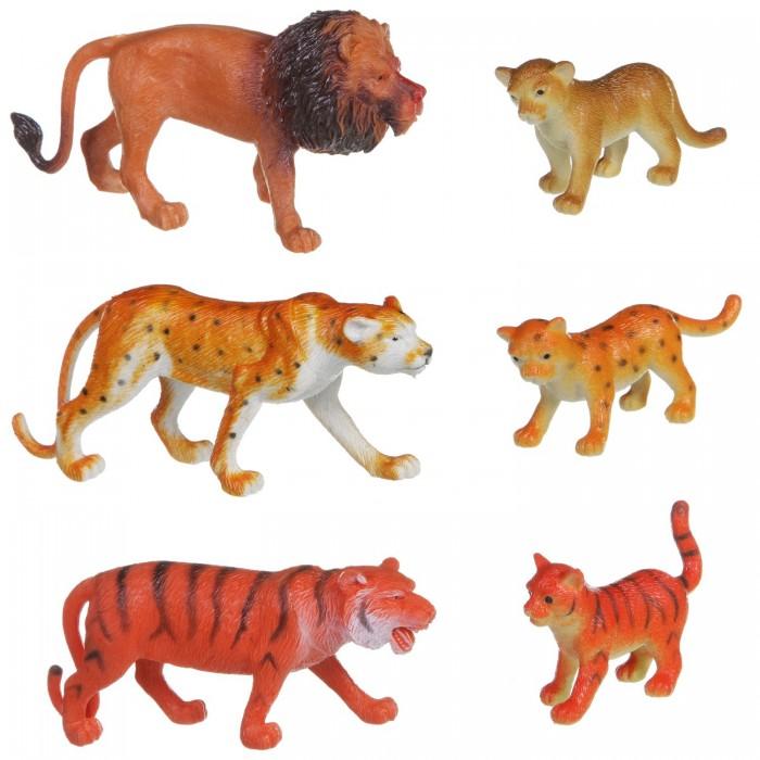 Игровые фигурки Bondibon Набор животных Ребятам о Зверятах Дикие животные с детёнышами 6 шт. 2 вида bondibon набор животных ребятам о зверятах дикие животные 3 4 дюйма 6 шт