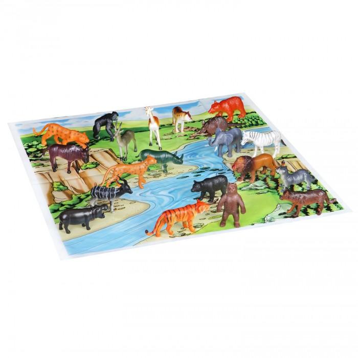 Игровые фигурки Bondibon Набор животных Ребятам о Зверятах Дикие животные 4 дюйма 20 шт. и игровое поле