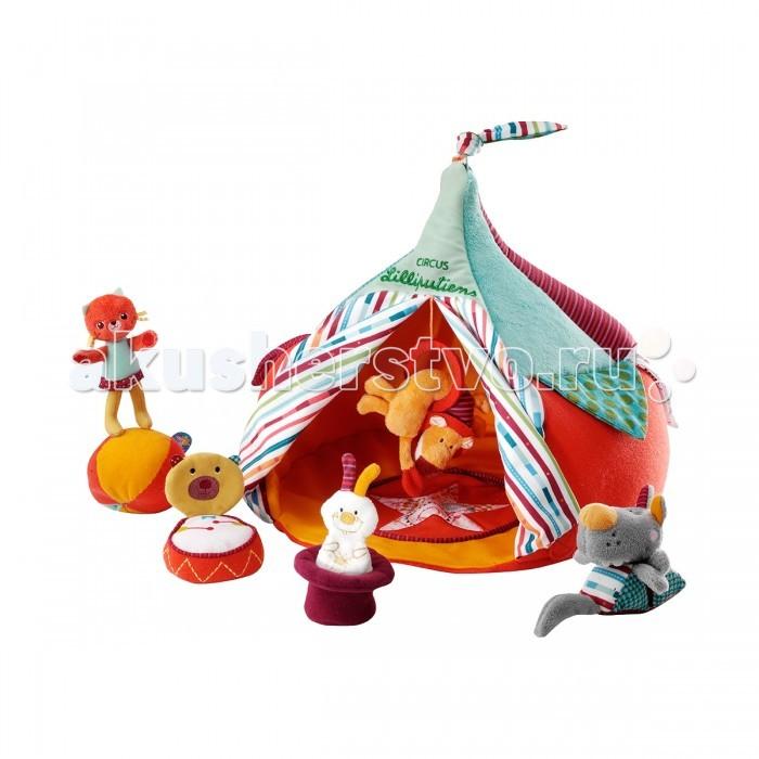 Мягкая игрушка Lilliputiens Набор Цирк и акробатыНабор Цирк и акробатыМягкая игрушка Lilliputiens Набор Цирк и акробаты. Добро пожаловать в цирк Lilliputiens! Все твои друзья ждут тебя в цирке, чтобы показать тебе свое представление: можешь найти кролика, скрывающегося в шляпе?  Смотри, как кошечка Колетта взбирается на все, что хочет, благодаря ее лапкам на липучках. Смотри, как лев прыгает через обруч, а волк выполняет свой акробатический трюк! Это просто невероятно: в мгновение ока слон превращается в маленький шарик, а медвежонок становится музыкальным бубном!<br>