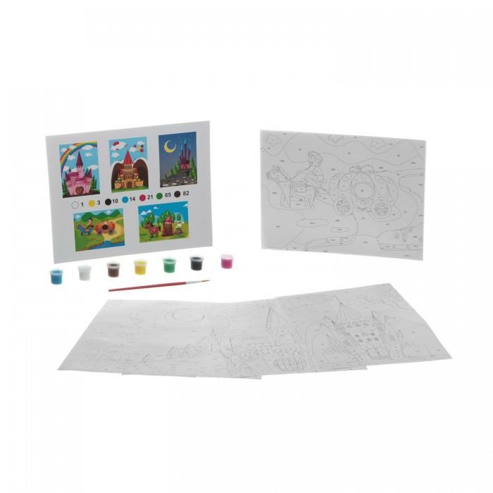 Раскраски Bondibon по номерам с акриловой краской, Сказочный замок, 22x29 см наборы для рисования цветной раскраски по номерам красочный единорог
