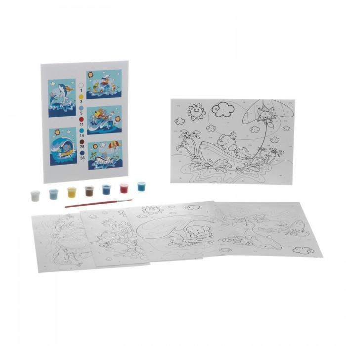Раскраски Bondibon по номерам с акриловой краской, Морские приключения, 22x29 см наборы для рисования цветной раскраски по номерам сова голова