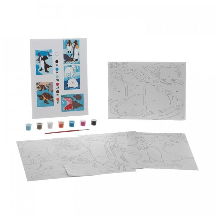 Раскраски Bondibon по номерам с акриловой краской, Полуводные животные, 22x29 см наборы для рисования цветной раскраски по номерам красочный единорог