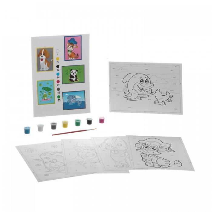 Раскраски Bondibon по номерам с акриловой краской, Животные, 22x29 см наборы для рисования цветной раскраски по номерам красочный единорог