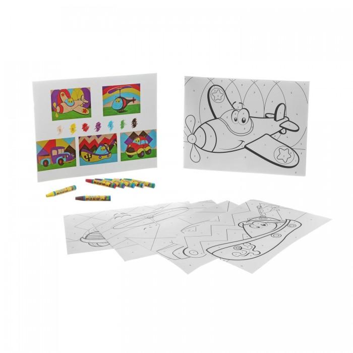 Раскраски Bondibon по номерам с пастельными мелками, Забавный транспорт, 22x29 см наборы для рисования цветной раскраски по номерам красочный единорог