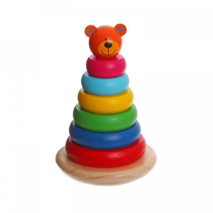 Деревянные игрушки Bondibon Игровой набор пирамида Мишка пирамида занимательная
