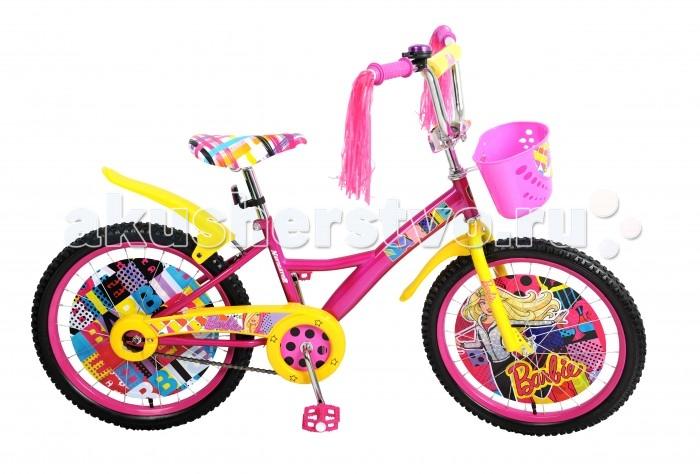 Велосипед двухколесный Navigator Barbie 20 KiteBarbie 20 KiteВелосипед Navigator Barbie 20 Kite - это хорошо собранный и надёжный велосипед для ребёнка. Модель подойдет для ребенка ростом 120-147 см. Детский велосипед с ярким дизайном и популярной лицензией Barbie.  Велосипед оснащен багажником, звонком, мишурой на руле и корзиной для перевозки необходимых мелочей. Катание на велосипеде благоприятно влияет на здоровье, укрепляет мышцы, развивает зрение, учит ориентироваться в пространстве и принимать решения.   Особенности: Тип: детский Материал рамы: сталь Амортизация: отсутствует Конструкция вилки: жесткая Конструкция рулевой колонки: неинтегрированная, резьбовая Диаметр колес: 20 дюймов Материал обода: алюминиевый сплав Двойной обод: нет Шатун: односоставной Возможность крепления боковых колес: нет Тип переднего тормоза: отсутствует Тип заднего тормоза: ножной Уровень заднего тормоза: начальный Количество скоростей: 1 Уровень каретки: начальный Конструкция каретки: неинтегрированная Тип посадочной части вала каретки: квадрат Количество звезд в кассете: 1 Количество звезд системы: 1 Конструкция педалей: платформы Конструкция руля: изогнутый Настройка положения руля: регулируемый подъем Материал рамки седла: сталь Комфорт: защита цепи, мягкая накладка на руле<br>