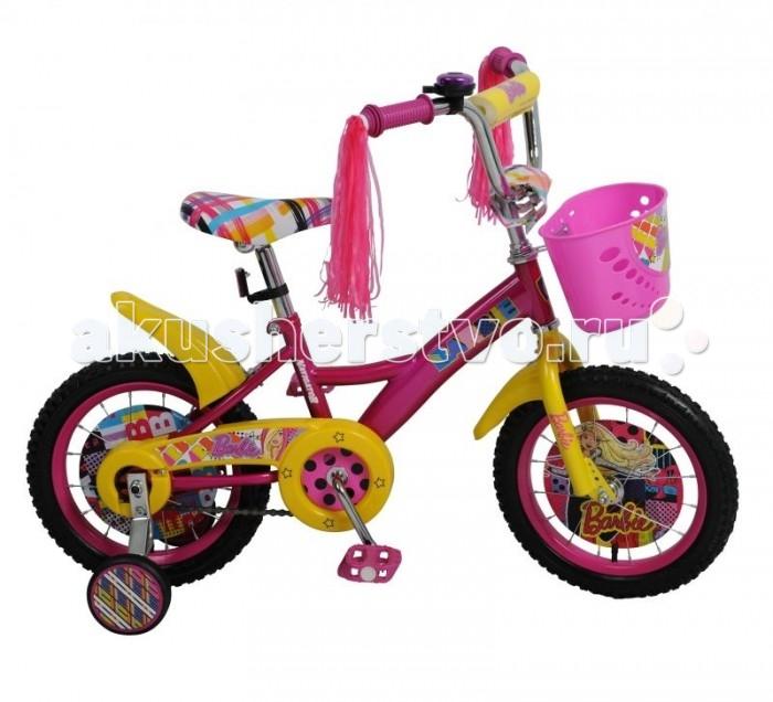 Велосипед двухколесный Navigator Barbie 14 KiteBarbie 14 KiteВелосипед Navigator Barbie 14 Kite - это хорошо собранный и надёжный велосипед для ребёнка. Модель подойдет для ребенка ростом 100-120 см. Детский велосипед с ярким дизайном и популярной лицензией Barbie.  Велосипед оснащен багажником, звонком, мишурой на руле и корзиной для перевозки необходимых мелочей. Катание на велосипеде благоприятно влияет на здоровье, укрепляет мышцы, развивает зрение, учит ориентироваться в пространстве и принимать решения.   Особенности: Тип: детский Материал рамы: сталь Амортизация: отсутствует Конструкция вилки: жесткая Конструкция рулевой колонки: неинтегрированная, резьбовая Диаметр колес: 14 дюймов Материал обода: алюминиевый сплав Двойной обод: нет Шатун: односоставной Возможность крепления боковых колес: есть Тип переднего тормоза: отсутствует Тип заднего тормоза: ножной Уровень заднего тормоза: начальный Количество скоростей: 1 Уровень каретки: начальный Конструкция каретки: неинтегрированная Тип посадочной части вала каретки: квадрат Количество звезд в кассете: 1 Количество звезд системы: 1 Конструкция педалей: платформы Конструкция руля: изогнутый Настройка положения руля: регулируемый подъем Материал рамки седла: сталь Комфорт: защита цепи, мягкая накладка на руле<br>