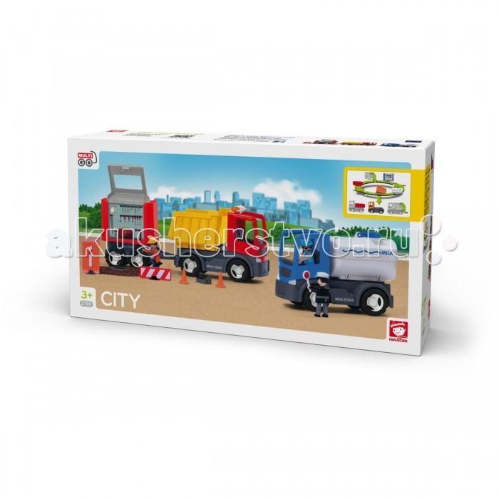 Multigo Большой набор ГородБольшой набор ГородMultigo Большой набор Город. Действительно большой набор для бесконечных игр!   Набор включает в себя: красный и голубой грузовик, цистерна Молоко, откидной кузов, мультикузов Пожарные и Ремонтная мастерская, 3 фигурки и аксессуары.  Специальная система MultiGO позволяет детям легко менять и добавлять различные игровые аксессуары. Одна игрушка легко преобразуется в другую. Основание грузовиков является базой, на которую могут крепиться различные игровые элементы. Кабина также имеет открытую крышу, а значит, туда очень удобно помещать фигурки персонажей из мира Igracek.<br>