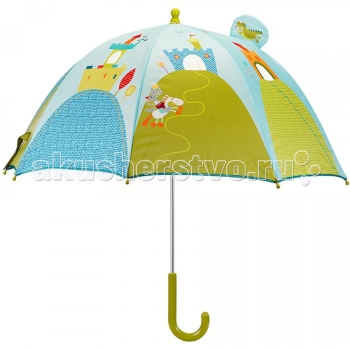 Детский зонтик Lilliputiens Дракон УолтерДракон УолтерLilliputiens Дракон Уолтер: зонтик.  Зонт детский Дракон Уолтер - это яркий аксессуар для малыша от известной бельгийской компании. Ребёнку понравится такой красивый зонтик с забавными узорами, смешными рисунками и маленьким окошком. Концы спиц закрыты пластмассовыми шариками, чтобы избежать нечаянных травм.   Для безопасности ребёнка зонт имеет ручной механизм складывания. Благодаря маленькому весу зонтика малыш сможет долгое время держать его самостоятельно, с удовольствием гуляя под дождём. Восемь стальных спиц обеспечивают прочность конструкции. Удобная закруглённая ручка удобно ложится в ручку малыша.<br>
