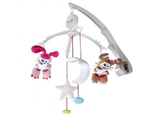Мобиль Babymoov Мобиль на кроватку А104409Мобили<br>Музыкальный мобиль на детскую кроватку Babymoov с механическим механизмом завода. Вращающаяся карусель с музыкальным сопровождением. Стимулирует зрение ребенка.   Входит в комплект: 4 игрушки (1 зайчик, 1 олень, 1 звездочка и 1 месяц)  Универсальное крепление подходит для любой кроватки