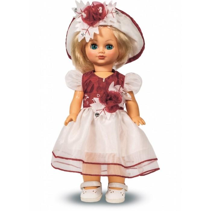 Весна Кукла Элла 10 42 смКукла Элла 10 42 смВесна Кукла Элла 10 (озвученная) покорит сердце любой девочки! Обаятельный внешний вид и прелестные одежки игрушечной красавицы вызывают только самые добрые и положительные эмоции.  Особенности: У красавицы-куклы Эллы голубые глазки и прекрасные золотистые локоны.  Она одета в нарядное белое платье с цветами, шляпку и белые туфельки. У Эллы закрываются глазки, и она умеет разговаривать.  При нажатии на звуковое устройство, вставленное в спинку, кукла произносит следующие фразы:  - Теперь ты моя подруга.  - Ты не забыла - сегодня мы идем на праздник.  - Нам нужно быть красивыми.  - Сделай мне прическу!  - Получилось очень красиво!  - Теперь себе.  -Не забудь про маникюр.  - А нарядное платье?  - Мы сегодня самые красивые!  Очаровательная кукла фирмы Весна покорит сердце любой девочки! Обаятельный внешний вид и прелестные одежки игрушечных красавиц вызывают только самые добрые и положительные эмоции. Куклы производятся на российских фабриках из нетоксичных, безопасных для детей материалов. Они отличаются высоким качеством, проработанностью деталей и гармоничными пропорциями тела. Голова и ручки кукол изготовлены из эластичного винила, очень приятного на ощупь, а туловище и ножки - из прочной пластмассы. У кукол густые мягкие волосы, которые можно мыть, расчесывать и заплетать как только захочется. Они прочно закреплены и способны выдержать практически любые творческие порывы ребенка. Особый восторг у маленьких модниц вызывают нарядные костюмы, которые можно снимать и менять. Дополнительно к куклам выпускаются самые разнообразные комплекты одежды. С прелестной куклой отечественного производства возможно не просто весело проводить время, но и научиться одеваться по сезону. Игра с очаровательными куклами поможет развить мелкую моторику, а возможность менять костюмчики и прически формирует эстетический вкус. Милая игрушка станет лучшей подружкой для девочки и научит ребенка доброте и заботе о других.  Производитель оставляет за 