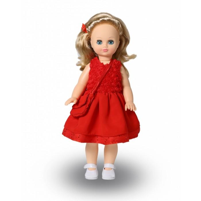 Весна Кукла Лиза 6 49 смКукла Лиза 6 49 смВесна Кукла Лиза 6 (озвученная) покорит сердце любой девочки! Обаятельный внешний вид и прелестные одежки игрушечной красавицы вызывают только самые добрые и положительные эмоции.   Особенности: У прекрасной куклы Лизы лазурно-голубые глаза и блестящие светлые кудри.  На ней надето нарядное красное платье и белые туфельки.  К платью подобраны сумочка и заколка-бабочка в тон. У Лизы закрываются глазки, и она умеет разговаривать.  При нажатии на звуковое устройство, вставленное в спинку, кукла произносит различные фразы.  Очаровательная кукла фирмы Весна покорит сердце любой девочки! Обаятельный внешний вид и прелестные одежки игрушечных красавиц вызывают только самые добрые и положительные эмоции. Куклы производятся на российских фабриках из нетоксичных, безопасных для детей материалов. Они отличаются высоким качеством, проработанностью деталей и гармоничными пропорциями тела. Голова и ручки кукол изготовлены из эластичного винила, очень приятного на ощупь, а туловище и ножки - из прочной пластмассы. У кукол густые мягкие волосы, которые можно мыть, расчесывать и заплетать как только захочется. Они прочно закреплены и способны выдержать практически любые творческие порывы ребенка. Особый восторг у маленьких модниц вызывают нарядные костюмы, которые можно снимать и менять. Дополнительно к куклам выпускаются самые разнообразные комплекты одежды. С прелестной куклой отечественного производства возможно не просто весело проводить время, но и научиться одеваться по сезону. Игра с очаровательными куклами поможет развить мелкую моторику, а возможность менять костюмчики и прически формирует эстетический вкус. Милая игрушка станет лучшей подружкой для девочки и научит ребенка доброте и заботе о других.  Производитель оставляет за собой право изменения цветовой гаммы одежды и волос куклы, цвет глаз может варьироваться.<br>