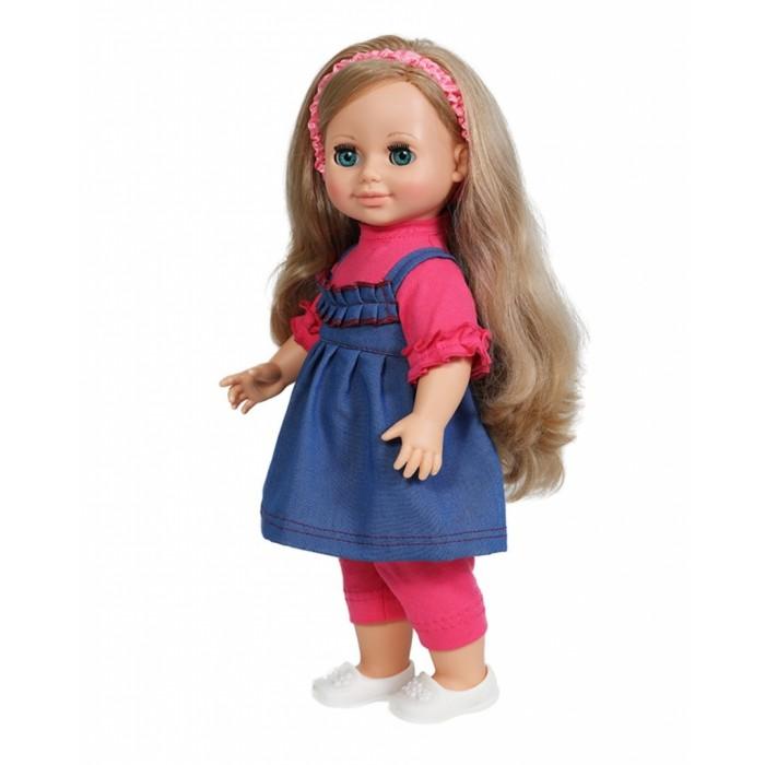 Весна Кукла Анна 5 49 смКукла Анна 5 49 смВесна Кукла Анна 5 (озвученная) покорит сердце любой девочки! Обаятельный внешний вид и прелестные одежки игрушечной красавицы вызывают только самые добрые и положительные эмоции.   Особенности: У очаровательной куклы Анны голубые глаза и пышные светлые волосы.  На ней надет прелестный летний наряд: розовые блузка и бриджи, джинсовый сарафанчик и белые туфельки.  На голове у куклы - ободок из шёлка с эластичной тесьмой внутри. У Анны закрываются глазки, и она умеет разговаривать.  При нажатии на звуковое устройство, вставленное в спинку, кукла произносит следующие фразы:  - Привет! Давай потанцуем.  - Я люблю музыку.  - Возьми меня за ручки.  - Покружись со мной.  - Как здорово!  - А сейчас спой мне песенку.  - А другую песенку…  - Мне очень нравится.  Очаровательная кукла фирмы Весна покорит сердце любой девочки! Обаятельный внешний вид и прелестные одежки игрушечных красавиц вызывают только самые добрые и положительные эмоции. Куклы производятся на российских фабриках из нетоксичных, безопасных для детей материалов. Они отличаются высоким качеством, проработанностью деталей и гармоничными пропорциями тела. Голова и ручки кукол изготовлены из эластичного винила, очень приятного на ощупь, а туловище и ножки - из прочной пластмассы. У кукол густые мягкие волосы, которые можно мыть, расчесывать и заплетать как только захочется. Они прочно закреплены и способны выдержать практически любые творческие порывы ребенка. Особый восторг у маленьких модниц вызывают нарядные костюмы, которые можно снимать и менять. Дополнительно к куклам выпускаются самые разнообразные комплекты одежды. С прелестной куклой отечественного производства возможно не просто весело проводить время, но и научиться одеваться по сезону. Игра с очаровательными куклами поможет развить мелкую моторику, а возможность менять костюмчики и прически формирует эстетический вкус. Милая игрушка станет лучшей подружкой для девочки и научит ребенка доброте и заботе о других.