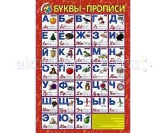 Обучающие плакаты Маленький гений Плакат Буквы-прописи обучающие игры