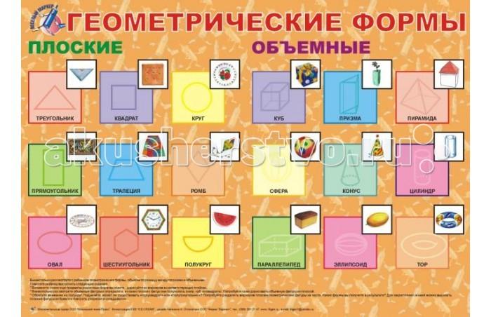 Обучающие плакаты Маленький гений Плакат Геометрические формы маленький гений пресс обучающие карточки правила дорожного движения