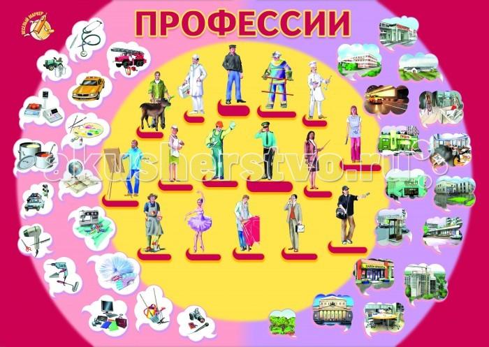 Обучающие плакаты Маленький гений Плакат Профессии обучающие игры