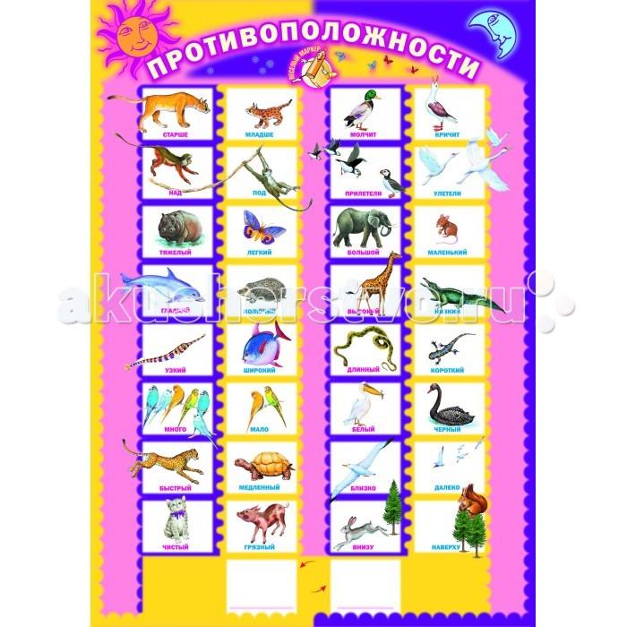 Обучающие плакаты Маленький гений Плакат Противоположности обучающие плакаты алфея плакат правила дорожного движения для детей